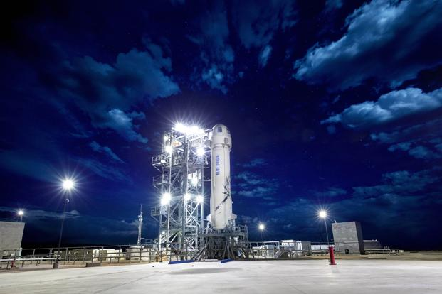 The New Shepard suborbital rocket system on the launch pad. Photo courtesy: Blue Origin