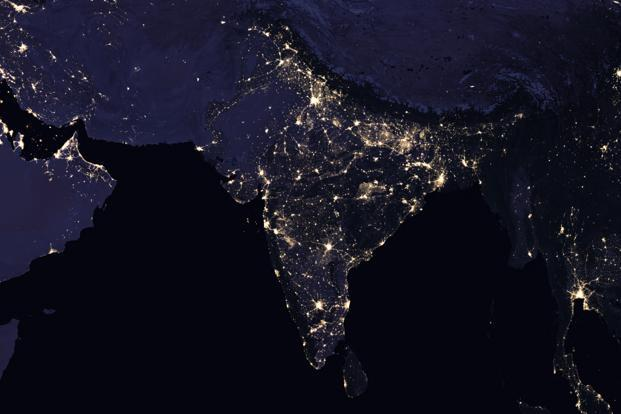 A composite night-time view of India and surrounding areas in 2016. Photo: NASA Earth Observatory Images (NASA Earth Observatory Images)