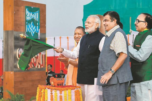PM Narendra Modi inaugurates India's first multi-modal terminal on the Ganga river in Varanasi on Monday. He was accompanied by transport minister Nitin Gadkari, UP CM Yogi Adityanath and UP BJP chief Mahendra Nath Pandey. Photo: PTI