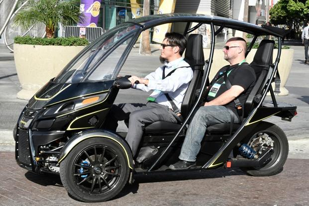 The Arcimoto 3-wheeler electric vehicle at the 2017 LA Auto show. Photo: Alamy