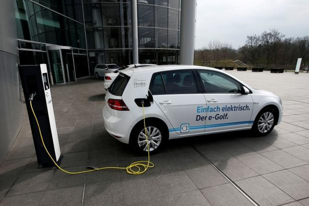 A Vw E Golf Electric Car Charging In Dresden Germany Volkswagen Has Set