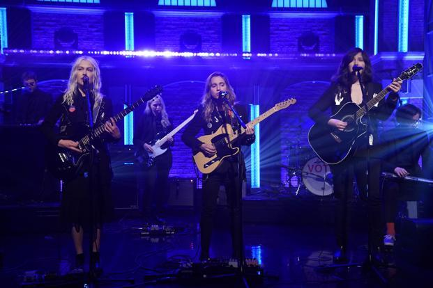 (from left) Phoebe Bridges, Julien Baker and Lucy Dacus of boygenius performing earlier this month. Photo: Getty Images