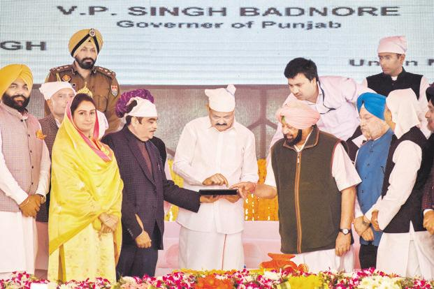 (From left) Union ministers Harsimrat Kaur Badal and Nitin Gadkari, vice-president Venkaiah Naidu and Punjab chief minister Capt. Amarinder Singh during the stone-laying ceremony in Gurdaspur on Monday. Photo: PTI