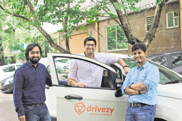 (From left) Drivezy co-founders Ashwarya Singh, Vasant Verma and Hemant Kumar Sah.