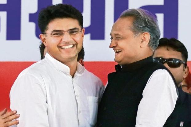 A file photo of former Rajasthan chief minister Ashok Gehlot (right) with state Congress president Sachin Pilot. Photo: AFP