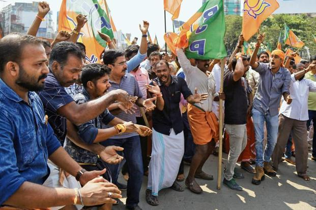 A file photo of BJP supporters protesting against SC order on Sabarimala. Photo: Reuters
