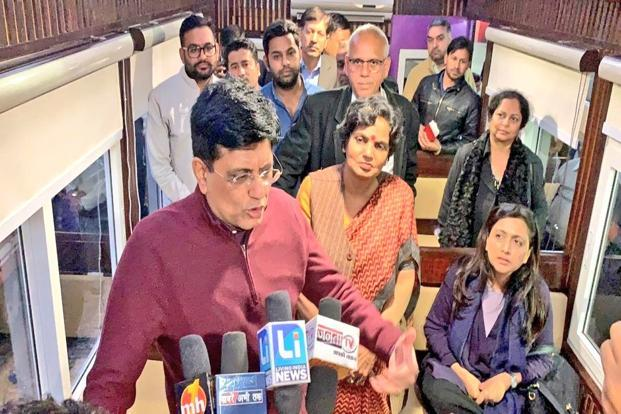 Railway Minister Piyush Goyal briefing the media about the new hop-on hop-off (HOHO) service during the tourist season. Photo: @PiyushGoyal