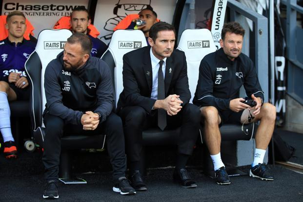 Derby manager Frank Lampard (centre) during a match against Preston North End. Photo: Getty Images