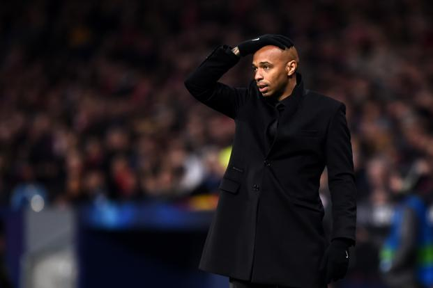 Monaco manager Thierry Henry during the 28 November Champions League tie against Atletico Madrid. Photo: Getty Images