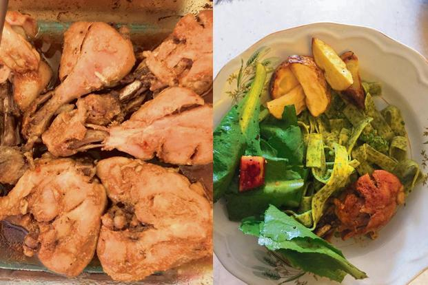 Honey roasted chicken; and fettucini with salad and potato wedges. Photo: Samar Halarnkar