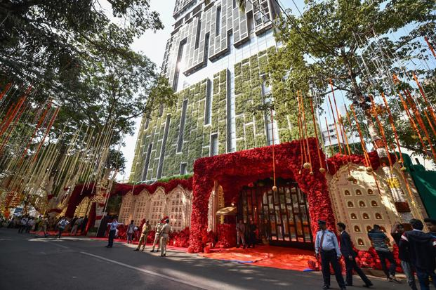 A view of Mukesh Ambani's residence, Antilla, on the day of his daughter Isha's wedding, in Mumbai. Photo: PTI