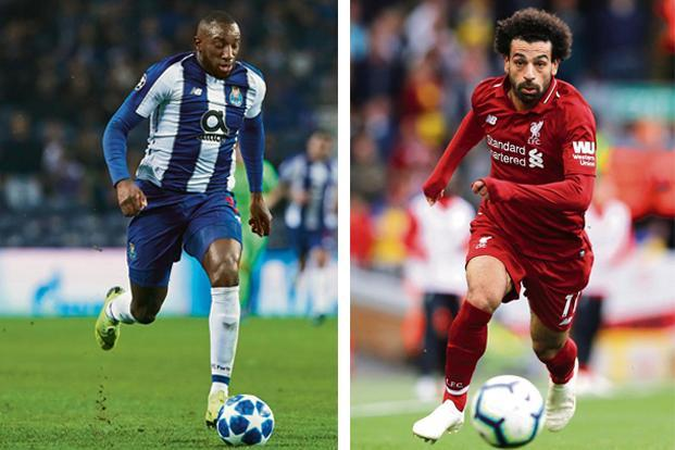 (left) Moussa Marega of Porto. Photo: Getty Images; and Mohamed Salah of Liverpool. Photo: Reuters