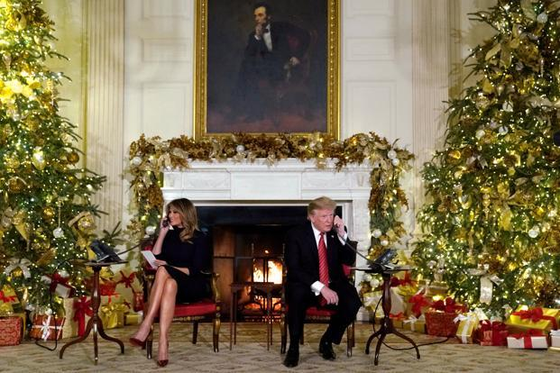 Donald Trump and the first lady later headed to Washington National Cathedral to attend a Christmas Eve service. Photo: Reuters