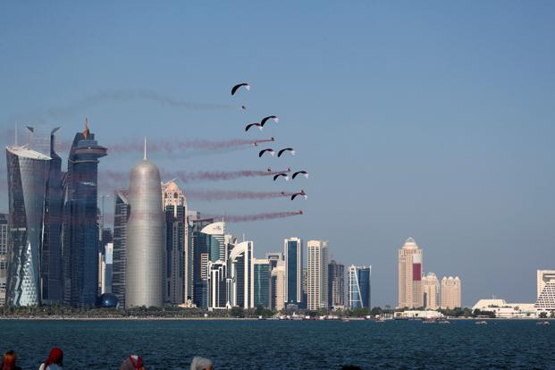 Paratroopers from the Qatari armed forces take part in Qatar's National Day celebrations in Doha, Qatar. Photo: Reuters