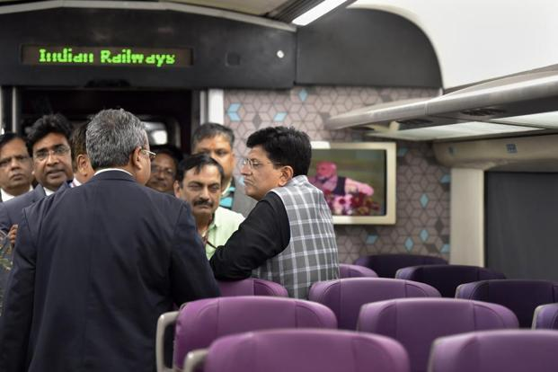 Train 18 will run between Delhi and Varanasi in eight hours and the fastest train between the two cities now takes 11.30 hours, according to Piyush Goyal. Photo: PTI