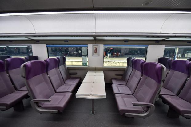 Interior of the country's fastest T-18 train, scheduled to run between New Delhi and Varanasi railway stations. Photo: PTI