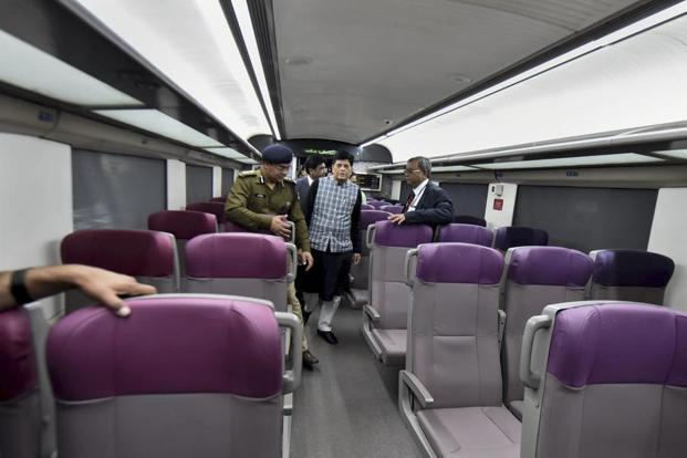 Railway Minister Piyush Goyal inspects the country's fastest T-18 train, scheduled to run between New Delhi and Varanasi railway stations, at New Delhi Railway Station in New Delhi. Photo: PTI