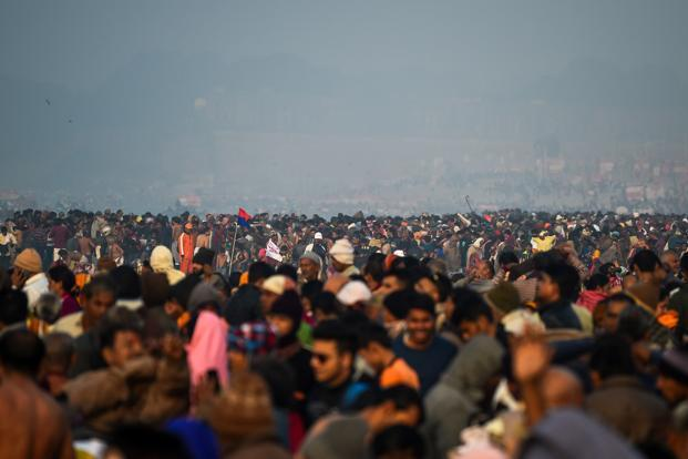Devotees gather to take a dip on the banks of the Triveni Sangam, the confluence of the Ganges, Yamuna and mythical Saraswati rivers, for the Kumbh mela in Allahabad on Monday. Photo: AFP