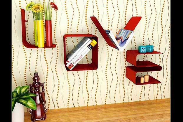 Cubed Love: Wall-mounted shelf, available in black and red, at www.FabFurnish.com, Rs3,290.
