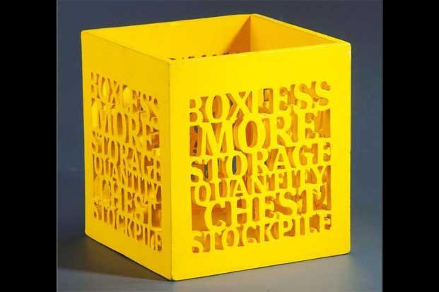 Less Common More Sense: Storage box in yellow and blue, at www.lesscommon.co.in,Rs4,000.