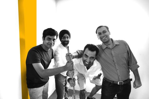 (Left to right) Ronak Kumar Samantray, Jasminder Singh Gulati, Neeraj Sabharwal Nitin Jain of NowFloats.