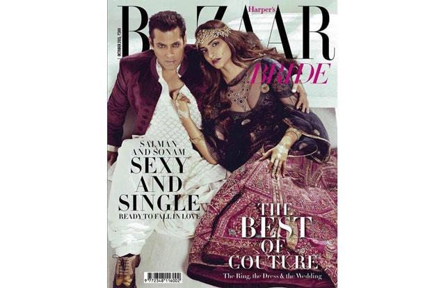 Salman Khan (left) and Sonam Kapoor on the October issue cover of 'Bazaar Bride'