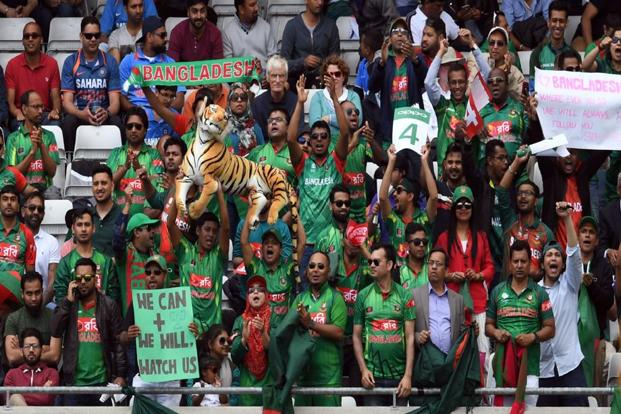 Bangladesh's supporters during the ICC Champions Trophy semifinal cricket match between India and Bangladesh at Edgbaston in Birmingham. Photo: AFP