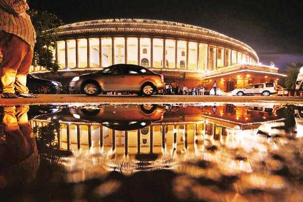 A lit-up Parliament ahead of GST launch at Friday midnight. Photo: Pradeep Gaur/Mint