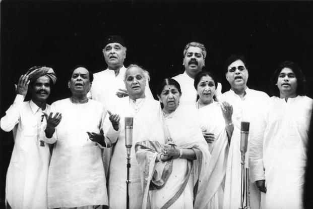 From left to right: Saddiq Khan Langa, M. Balamurli Krishna, Bhupen Hazarika, Pandit Jasraj, Lata Mangeshkar, Asha Bhosle, Hariharan, late Jagjit Singh and AR Rahman. Photo: HT