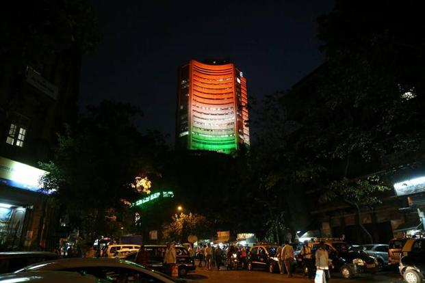 The Bombay Stock Exchange illuminated in the colours of the national flag on the eve of Independence Day. Photo: BSE