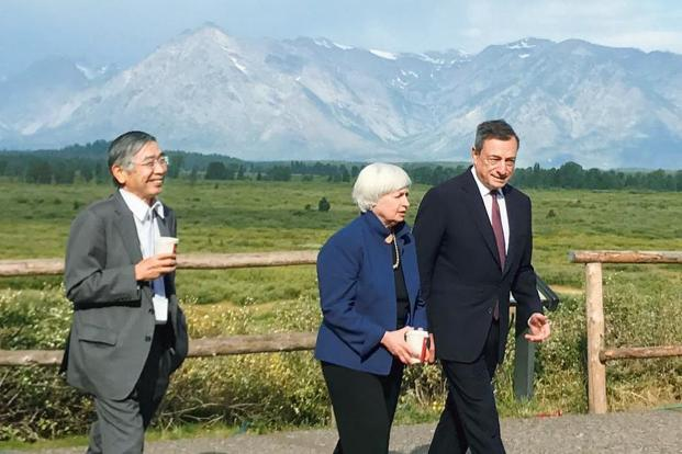 (Left to right) Governor of the Bank of Japan Haruhiko Kuroda,  US Federal Reserve chair Janet Yellen and president of the European Central Bank Mario Draghi. Photo: Reuters