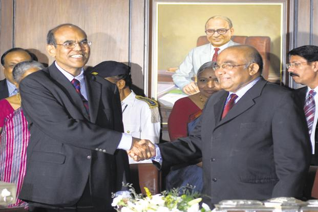 On September 5, 2008, just 10 days before the Lehman Brothers bankruptcy shook the financial markets globally, D. Subbarao (left) took charge as the new governor of Reserve Bank of India from his outgoing counterpart Y. V. Reddy (right) at the RBI headquarters in Mumbai. Photo: Abhijit Bhatlekar/Mint