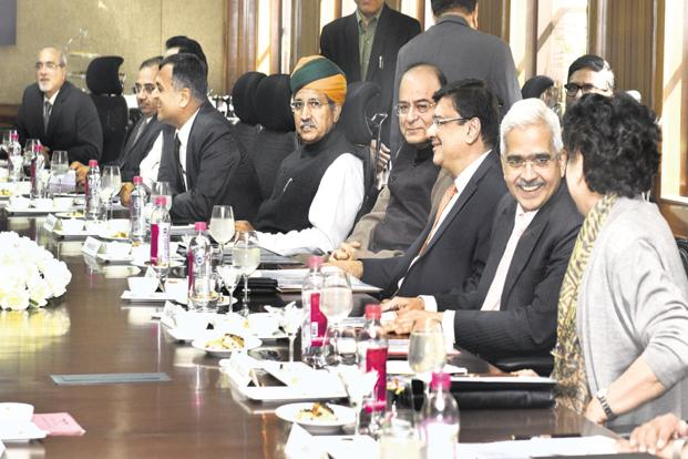 Finance minister Arun Jaitley and RBI governor Urjit Patel at an RBI board meeting last year. Photo: HT