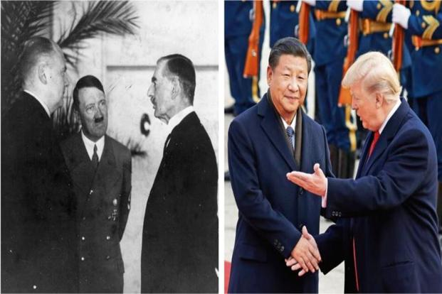 Hitler's interpreter Paul Schmidt (extreme left) conveying the Fuhrer's reply to a question from then British PM Neville Chamberlain, at Godesberg in September 1938. (Right) US President Donald Trump with his Chinese counterpart Xi Jinping.