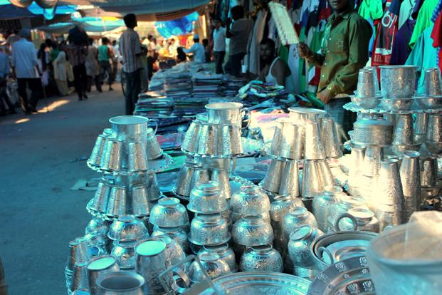 The market tradition still continues. The nearby Meena Bazaar has wares ranging from crockery to cameras on offer.