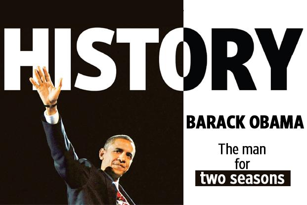 6 November 2008: A slice of Mint's cover page when Obama made history by being the first black president of the United States. Four years later, having hit the magic 270 mark, he is all set to be re-elected.