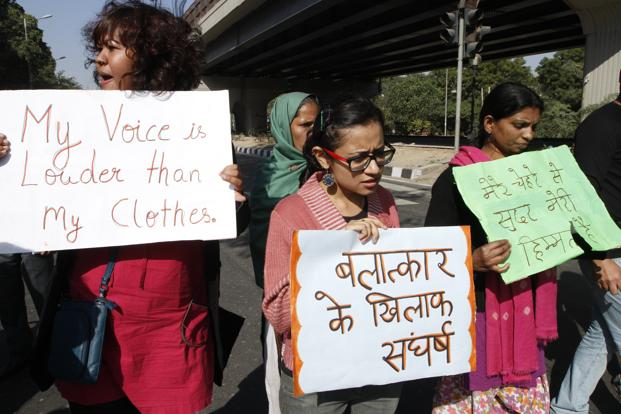 A protest by students at Munirka Chowk in New Delhi.