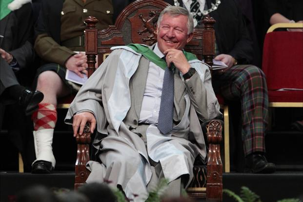 Alex Ferguson receiving an honorary doctorate at Stirling University in Stirling, Scotland on 29 June 2011. His greatest achievement came in 1998/99 when United won the treble of Premiership title, FA Cup and European Cup. Reuters